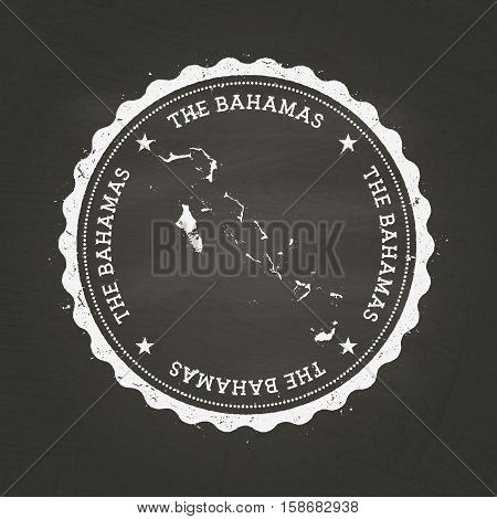 White Chalk Texture Rubber Stamp With Commonwealth Of The Bahamas Map On A School Blackboard. Grunge