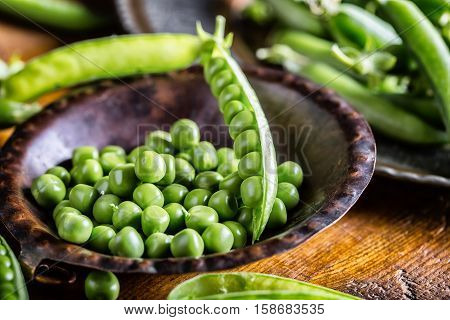 Peas. Green peas. Fresh Homemade Peas. Healthy food.