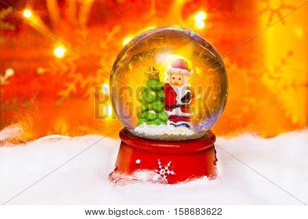 Santa In Snowdome, Happy New Year 2017, Christmas