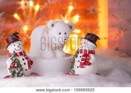 Two Snowmen With Polar Bear, Happy New Year 2017, Christmas