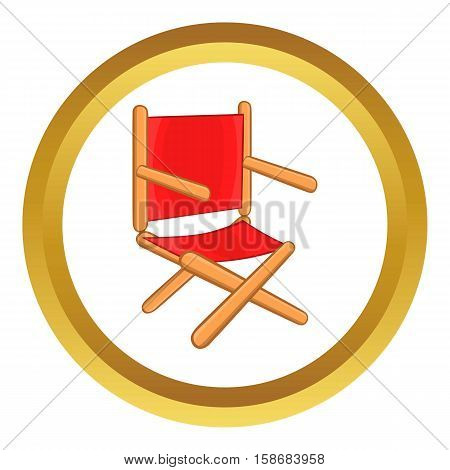 Director chair vector icon in golden circle, cartoon style isolated on white background