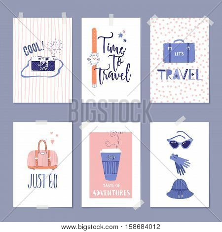 Vector set of templates with travel illustrations and lettering. For greeting card poster label or banner design. Retro 50's style.