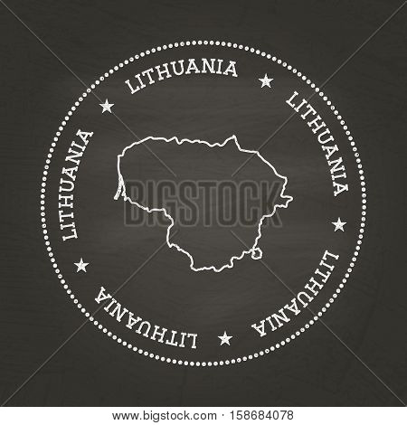 White Chalk Texture Vintage Seal With Republic Of Lithuania Map On A School Blackboard. Grunge Rubbe