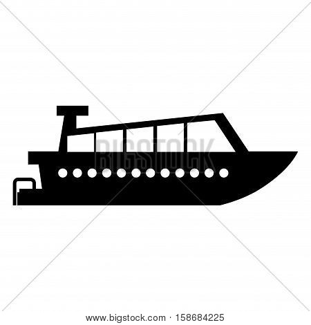 black silhouette yacht flat icon with motor vector illustration