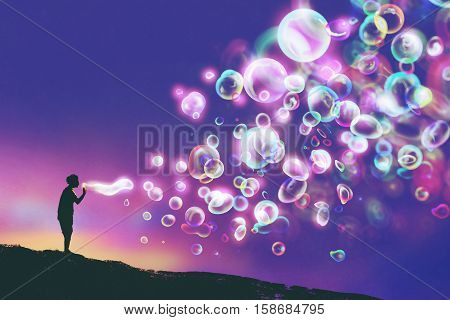 young man blowing glowing soap bubbles against evening sky, illustration painting