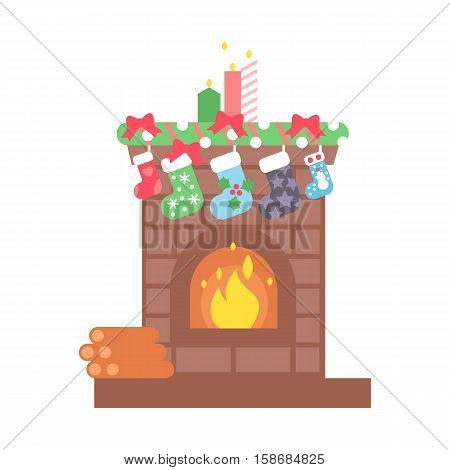 Fireplace christmas icon design. House room warm christmas silhouette. Flame bright decoration coal furnace. Comfortable warmth place home interior winter holidays.
