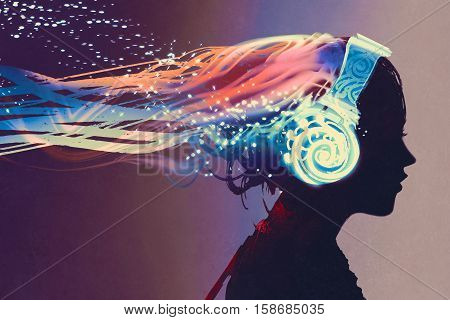 woman with magic glowing headphones on dark background, illustration painting