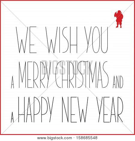 White Christmas Greeting Card With Black Text And Red Silhouette Of Santa Claus. Vector Illustration