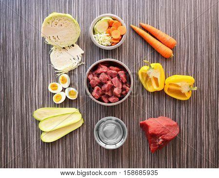 Healthy dog food, flat lay