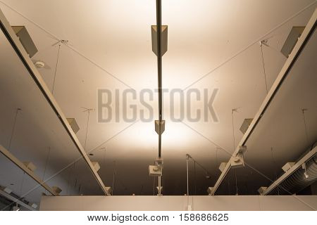 Light Racks Fluorescent Modern Ceiling Decoration Architecture Abstract Perspective Hanging White