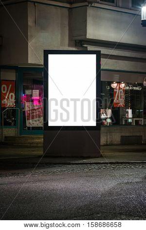 Street Lightbox White Blank Corner Clipping Path Advertisement Space Night City Streets