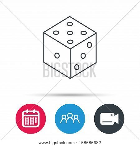 Dice icon. Casino gaming tool sign. Winner bet symbol. Group of people, video cam and calendar icons. Vector