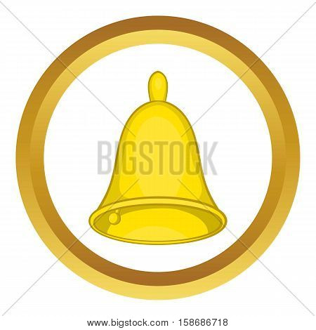 Golden hand bell vector icon in golden circle, cartoon style isolated on white background