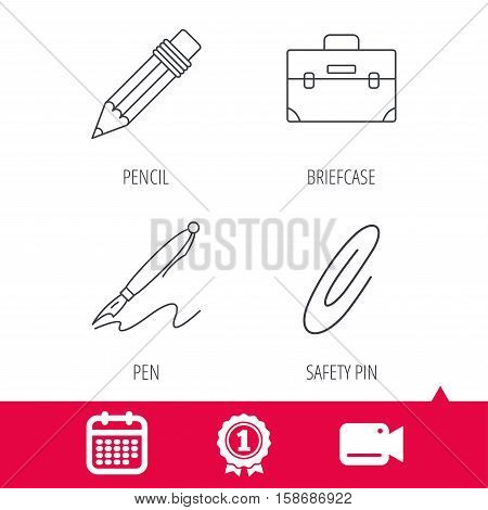 Achievement and video cam signs. Briefcase, pencil and safety pin icons. Pen linear sign. Calendar icon. Vector