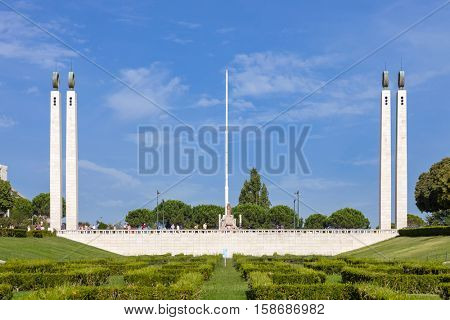 Lisbon, Portugal - October 19, 2016: The scenic overlook or vista point of Eduardo VII Park in Lisbon, Portugal. The largest park in the city center and a landmark.