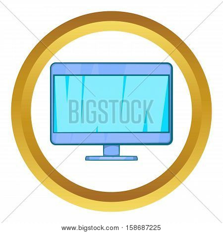 Computer monitor vector icon in golden circle, cartoon style isolated on white background