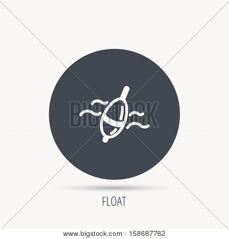 Fishing float icon. Bobber in waves sign. Angling symbol. Round web button with flat icon. Vector