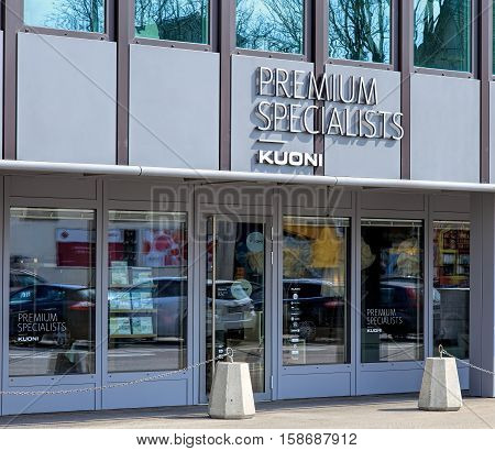 Zurich, Switzerland - 4 April, 2016: Kuoni office on Geroldstrasse street. Kuoni Travel is a tourism company founded in Zurich in 1906 by a Swiss businessman Alfred Kuoni.