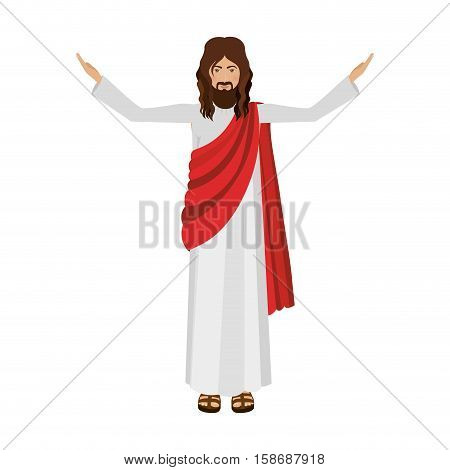 figure human of Jesus Christ with hands up vector illustration
