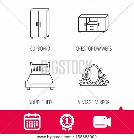 Achievement and video cam signs. Double bed, vintage mirror and cupboard icons. Chest of drawers linear sign. Calendar icon. Vector