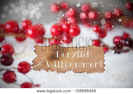 Burnt Label With German Text Herzlich Willkommen Means Welcome. Red Christmas Decoration On Snow. Cement Wall As Background With Bokeh Effect And Snowflakes. Card For Seasons Greetings