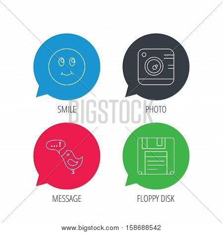 Colored speech bubbles. Photo camera, floppy disk and message icons. Smiling face linear sign. Flat web buttons with linear icons. Vector