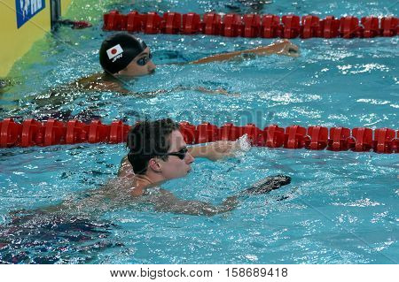 Hong Kong China - Oct 29 2016. English competitive swimmer Benjamin PROUD (GBR) and SHIOURA Shinri (JPN) in the finish. FINA Swimming World Cup Preliminary Heats Victoria Park Swimming Pool.
