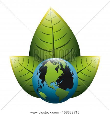 earth world map with leaves on top