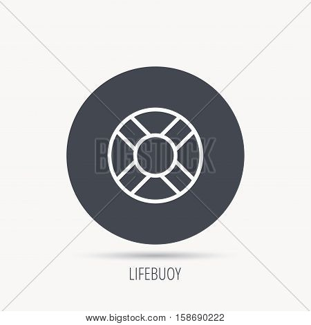 Lifebuoy icon. Lifebelt sos sign. Lifesaver help equipment symbol. Round web button with flat icon. Vector