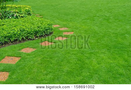 Pathways with green lawn, Landscaping in the garden,pathway in the park,curve walkway with stone tile on green grass field and flower garden
