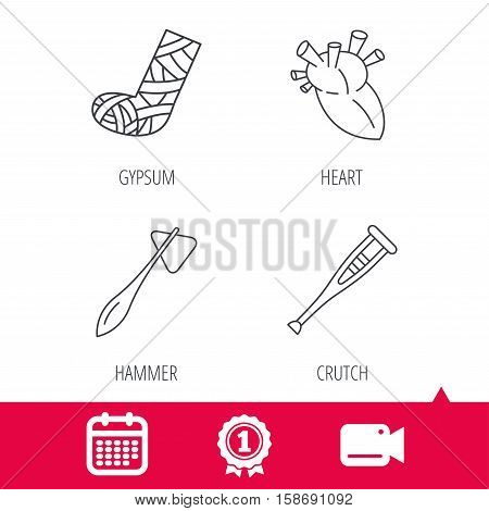 Achievement and video cam signs. Gypsum, heart and medical hammer icons. Crutch linear sign. Calendar icon. Vector