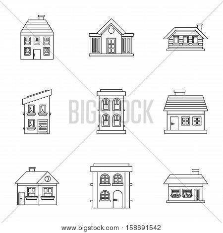 Habitation icons set. Outline illustration of 9 habitation vector icons for web