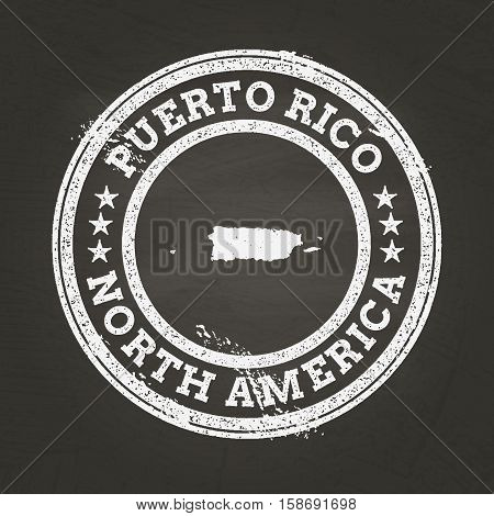 White Chalk Texture Grunge Stamp With Commonwealth Of Puerto Rico Map On A School Blackboard. Grunge