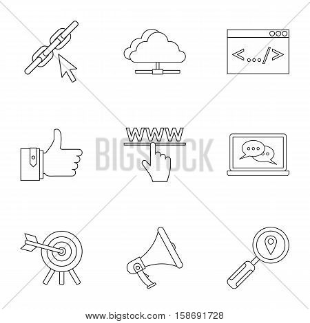 SEO optimization icons set. Outline illustration of 9 SEO optimization vector icons for web