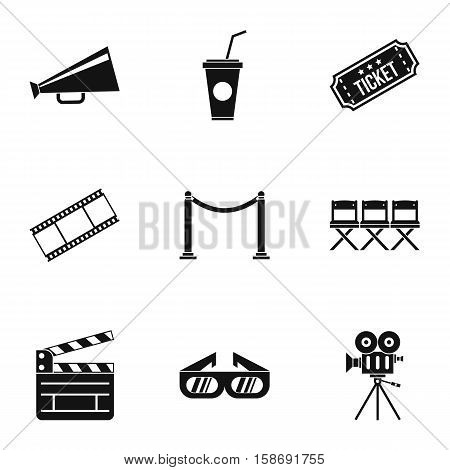 Film icons set. Simple illustration of 9 film vector icons for web