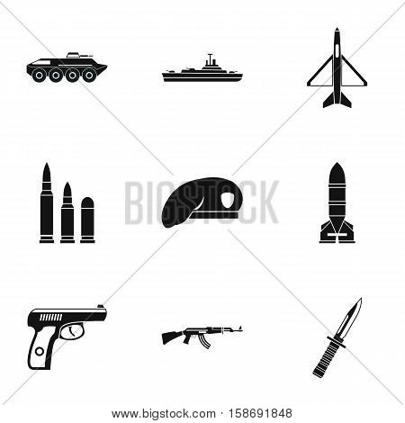 War icons set. Simple illustration of 9 war vector icons for web