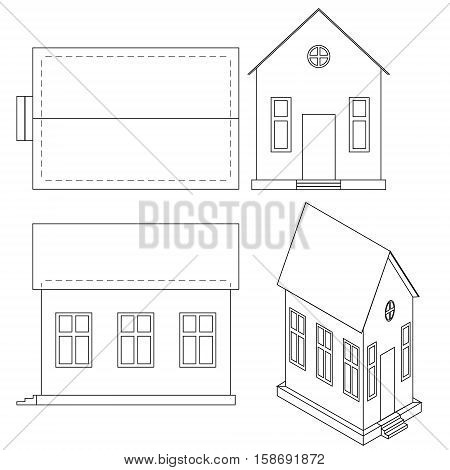 Vector drawing of house with perspective view