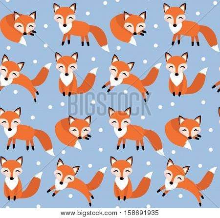 Cute fox seamless pattern. Foxy endless background, texture. Children s backdrop. Vector illustration