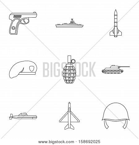 Equipment for war icons set. Outline illustration of 9 equipment for war vector icons for web