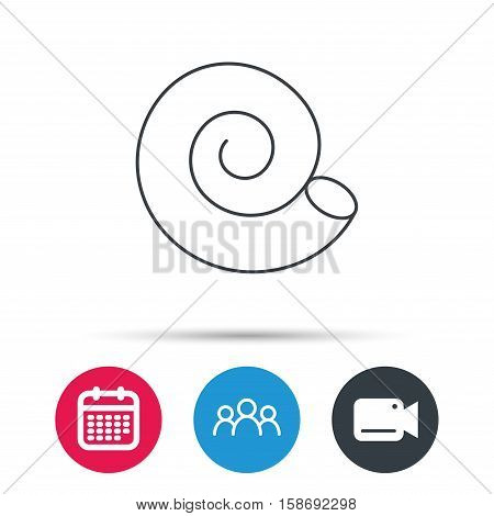 Sea shell icon. Spiral seashell sign. Mollusk shell symbol. Group of people, video cam and calendar icons. Vector