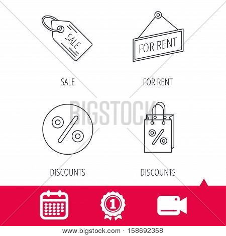 Achievement and video cam signs. Discounts, gift bag and sale coupon icons. For rent linear sign. Calendar icon. Vector