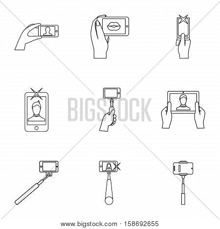 Photography on smartphone icons set. Outline illustration of 9 photography on smartphone vector icons for web