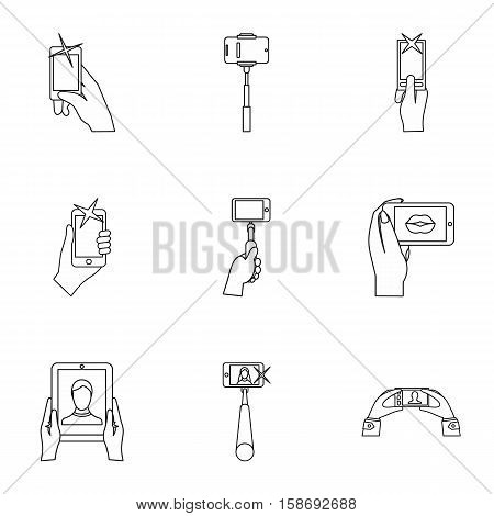 Selfie icons set. Outline illustration of 9 selfie vector icons for web