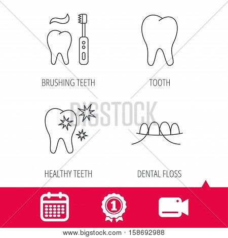 Achievement and video cam signs. Dental floss, tooth and healthy teeth icons. Brushing teeth linear sign. Calendar icon. Vector