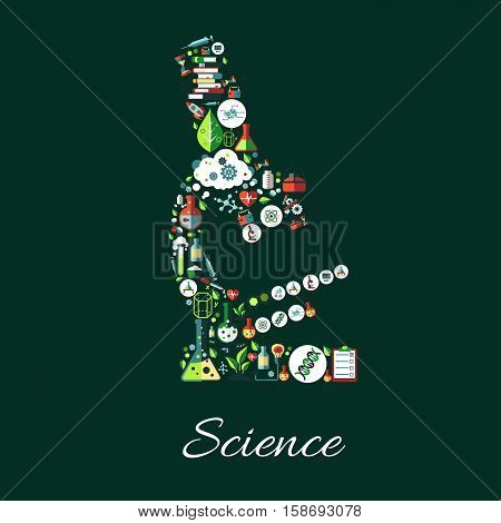 Science poster. Microscope symbol of astronomy, chemistry, physics, medicine, mathematics science icons. Scientific conceptual sign of science icons research books, laboratory test flask, DNA, formula, computer, syringe