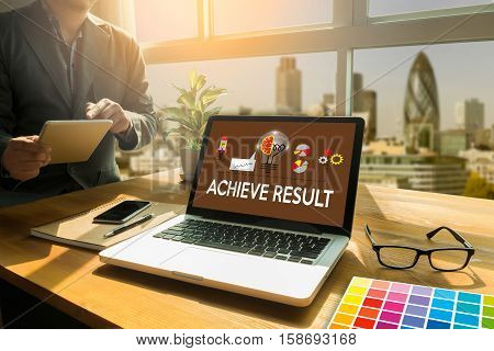 Achieve Result , Results Compass , Businessman Achieve Result ,  Results And Expectations , Get Resu