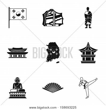 South Korea icons set. Simple illustration of 9 South Korea vector icons for web