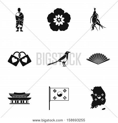 Stay in South Korea icons set. Simple illustration of 9 stay in South Korea vector icons for web