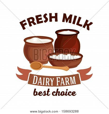 Fresh milk. Dairy farm vector isolated icon. Vector milk pitcher, sour cream jar, milk curd, cottage cheese. Village dairy farm badge