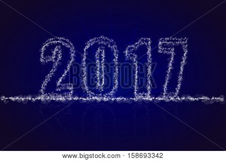 Abstract happy new year 2017 backdrop greeting card. 2017 sign consist of various sized transparent dots bokeh circles with beams on blue background with reflection.